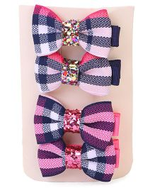 Bowtastic Set Of 4 Bow Clips - Blue & Pink