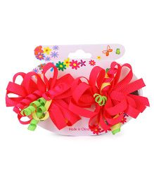 Bowtastic Loopy Flower Clip Set Of 2 - Fuschia