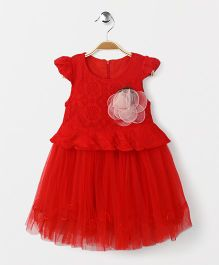 Party Princess Lace Dress With Flower Broach - Red