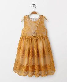 Party Princess Lace Dress With Necklace - Mustard