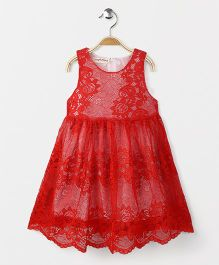 Party Princess Lace Dress With Necklace - Red