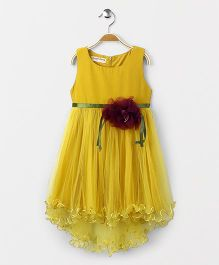Party Princess Beautiful Dress With Flower At Belt - Mustard