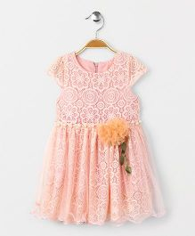 Party Princess Lace Dress With Pearls & Flower Broach - Peach