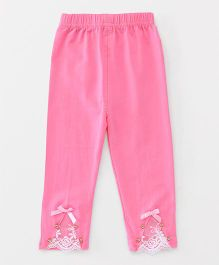Party Princess Leggings With Lace & Beads - Pink