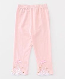 Party Princess Leggings With Lace & Beads - Peach