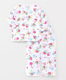 Party Princess Printed Night Suit - White