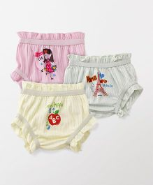 Bodycare Printed Set Of 3 Bloomers - Yellow Pink Light Green