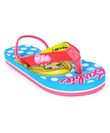 Barbie Flip Flops With Back Strap - Blue & Pink