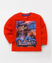 Fido Full Sleeves Tee Show And Shine Print - Red