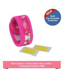Safe-O-Kid Jungle Theme Reusable Anti-Mosquito Band With 2 Refills - Pink
