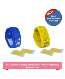 Safe-O-Kid Fruit & Sugartown Theme Reusable Anti-Mosquito Band With 4 Refills - Blue Yellow