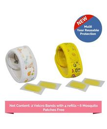 Safe-O-Kid Fruit & Aqua Theme Reusable Anti-Mosquito Band With 4 Refills - White Yellow