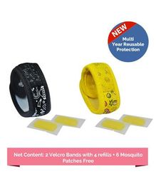 Safe-O-Kid Fruit & Space Theme Reusable Anti-Mosquito Band With 4 Refills - Black Yellow