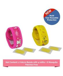 Safe-O-Kid Fruit & Jungle Theme Reusable Anti-Mosquito Band With 4 Refills - Pink Yellow