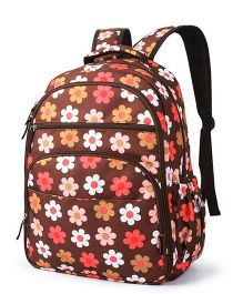 T-Bags Backpack Style Diaper Bag Floral Print Brown - 16.5 inches