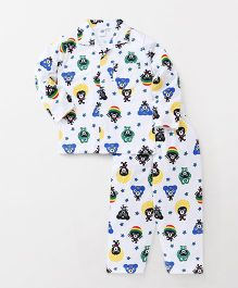 Teddy Full Sleeves Night Suit Bear Print - White