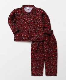 Teddy Full Sleeves Night Suit Floral Print - Red Navy Blue
