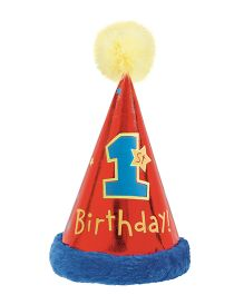 Wanna Party 1st Birthday Cone Hat With Faux Fur - Red Blue Yellow