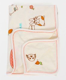 Pink Rabbit Towel Printed - Off White