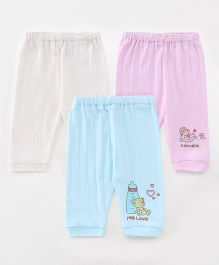 Pink Rabbit Full Length Lounge Pant Pack Of 3 - Off White Blue Pink