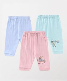 Pink Rabbit Full Length Lounge Pant Pack Of 3 - Peach Blue Green