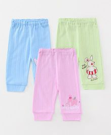 Pink Rabbit Full Length Lounge Pant Pack Of 3 - Pink Blue Green