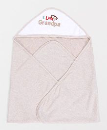 Pink Rabbit Hooded Towel I Love Grandpa Embroidery - Beige