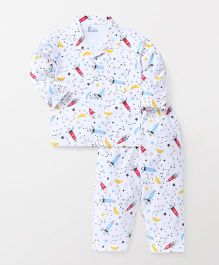 Pink Rabbit Full Sleeves Night Suit Rocket Print - White & Blue