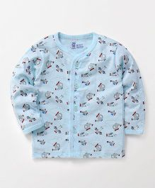 Pink Rabbit Full Sleeves Vest Allover Helicopter Print - Sky Blue