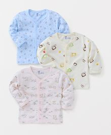 Pink Rabbit Full Sleeves Vests Pack of 3 - Blue Light Pink Yellow