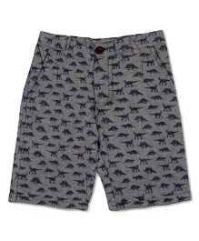 Pikaboo Shorts All Over Dinosaur Print - Grey