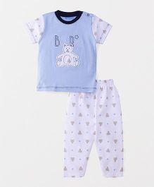 Wonderchild Teddy Applique Night Suit - Blue & White