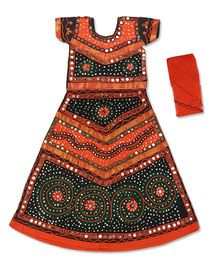 Pikaboo Short Sleeves Choli Lehenga & Dupatta Kutch Embroidery - Black & Orange