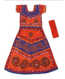 Pikaboo Short Sleeves Choli Lehenga & Dupatta Kutch Embroidery - Blue & Red