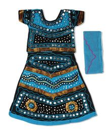 Pikaboo Short Sleeves Choli Lehenga & Dupatta Kutch Embroidery - Blue & Black