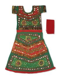 Pikaboo Short Sleeves Choli Lehenga & Dupatta Kutch Embroidery - Green & Red