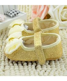 Wow Kiddos Glitter Booties With Bow - Golden
