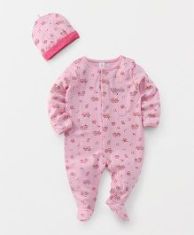 ToffyHouse Footed Romper And Cap Set Owls Print - Pink