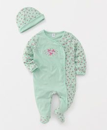 ToffyHouse Footed Romper And Cap Set Floral Print - Green