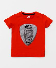 Vitamins Half Sleeves T-Shirt Music Print - Red