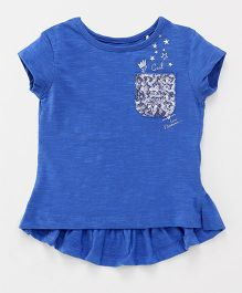 Vitamins Short Sleeves Tee With Pocket Sequins Details - Blue