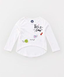 Vitamins Full Sleeves Tee Print & Embroidery - Off White