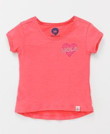 Vitamins Short Sleeves Tee Heart Design - Pink