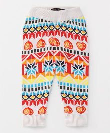 Vitamins Full Length Narrow Fit Thermal Bottoms Multi Print - Off White