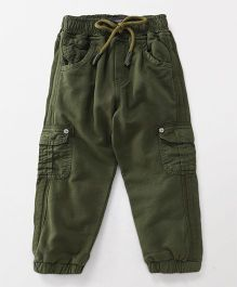 Little Kangaroos Full Length Trouser With Drawstring - Olive Green