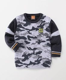 Little Kangaroos Full Sleeves Pullover Sweater Camouflage Print - Grey