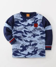 Little Kangaroos Full Sleeves Pullover Sweater Camouflage Print - Navy
