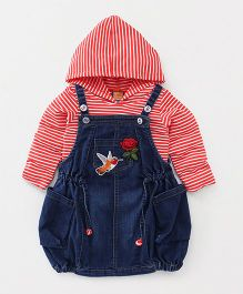 Little Kangaroos Dungaree Frock With Hooded Top Bird Patch - Red Blue