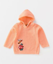 Little Kangaroos Full Sleeves Hooded Sweater Bird Patch - Peach