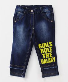 Little Kangaroos Adjustable Waist Jeans Girls Rule The Galaxy Print - Blue Yellow